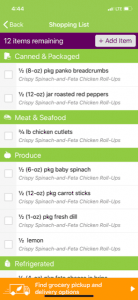emeals review shopping list screenshot from app
