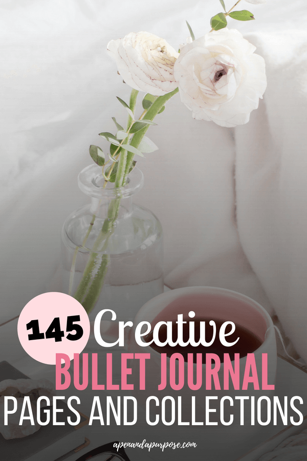 A coffee cup and a white flower. 145 creative bullet journal page ideas