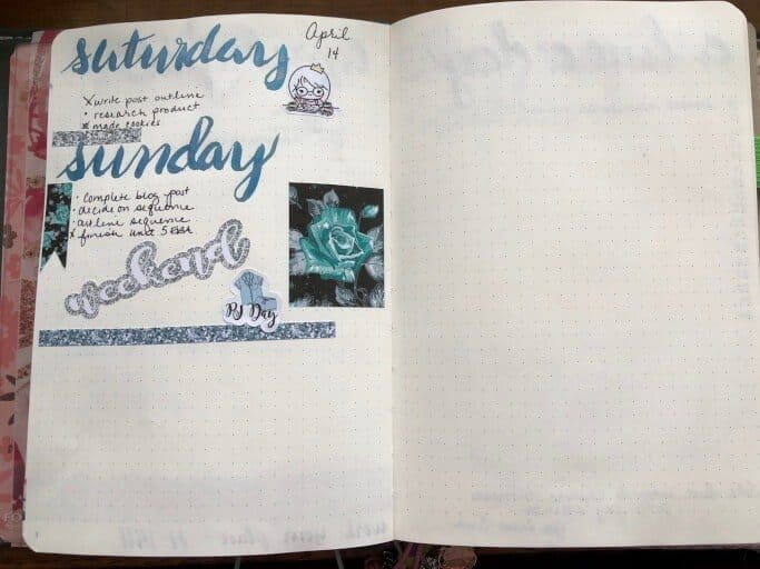 Daily or weekly spread in a bullet journal.