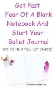 a blank notebook for bullet journal with a feather on it