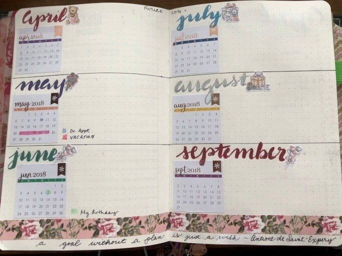 Bullet journal future log in a Scribbles That Matter Bullet Journal. The months shown are April through September