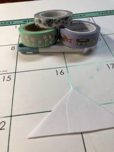 3 washi tapes chosen for making a washi corner bookmark