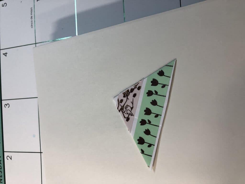 Washi corner bookmark with two strips of washi
