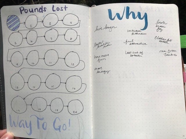 weight tracker spread in a bullet journal. 20 circles each representing one pound.