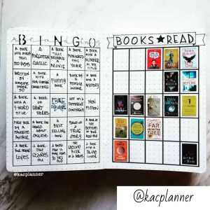 A book journal example of a book challenge using a drawn out bingo card. On the left hand side the person has descriptions of books and on the right hand side is the bingo card with stickers of small book covers showing when that book was read