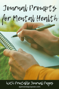 Writing in a journal for mental health. Journaling prompts for mental health.
