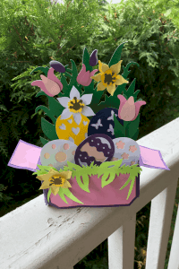 An Easter Spring Box card make using the Cricut Cutting Machine. I used a Cricut Explore Air to make this.