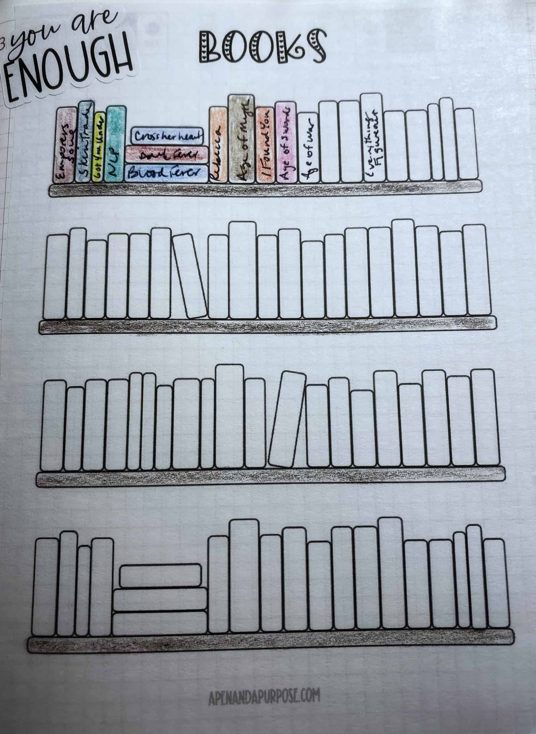 Book tracker printable page made into a sticker to track books in my planner