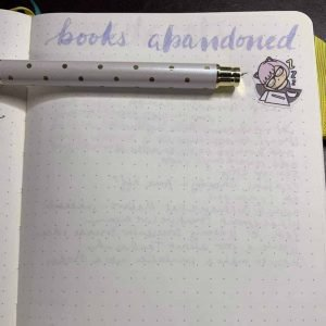 A reading journal example of a page listing abandoned books