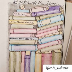 A reading journal example using a drawing of a shelf with stacked books.