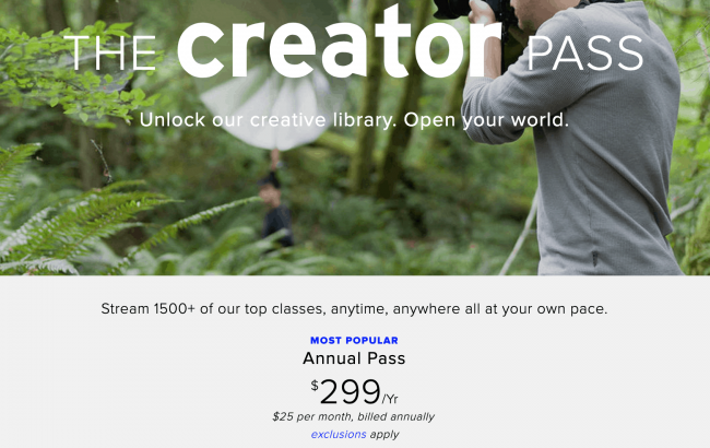 Sign up for the Creator Pass at Creative Live and get access to approximately 1500 courses!