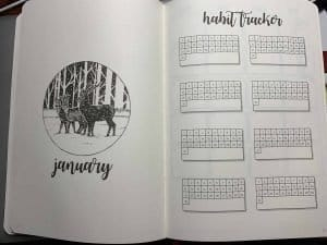 Habit Tracker page in new done for you bullet journal by Scribbles That Matter