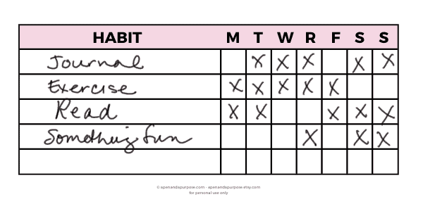 An example of a habit tracker.  Find this sticker on apenandapurpose.etsy.com