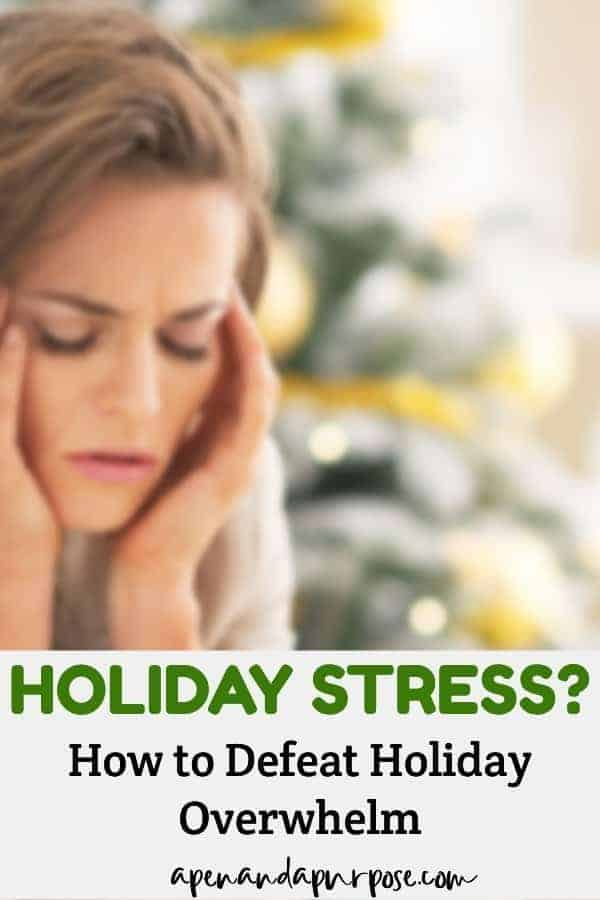 Woman with holiday stress. Defeat holiday overwhelm.