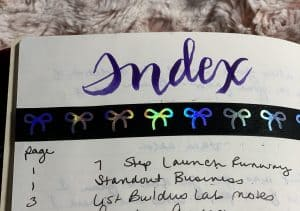 Make your own index if your bullet journal notebook does not include one