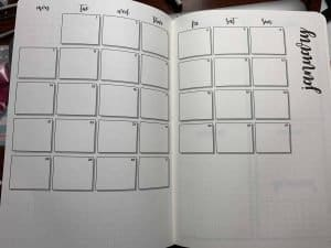 Monthly spread in done for you bullet journal by Scribbles That Matter