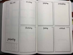 Weekly pages in the new done for you bullet journal by Scribbles That Matter